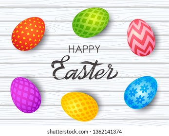 Colorful Easter greeting card. Easter painted eggs with an ornament on a wooden background with hand-made retro inscription. vector illustration