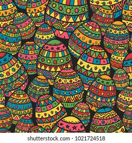 Colorful Easter Pattern Background in Doodle Style. Mix of Decorated Eggs. Seamless Vector Illustration