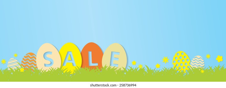 Colorful Easter Sale Banner -  Cute Easter Eggs, Grass and flowers, copy space with nice drop shadows