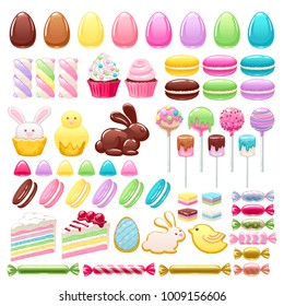 Colorful easter sweets icons set vector illustration - colorful eggs, chocolate bunny, macarons, cookies, cakes, cupcakes, marshmallow, candies