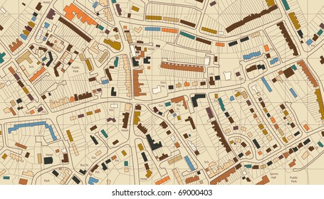 Colorful editable vector illustrated map of housing in a generic town