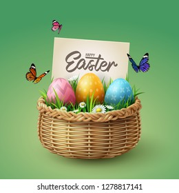 Colorful eggs in basket with butterfly and grass with happy Easter calligraphy hand lettering, Easter celebration concept, vector art and illustration.