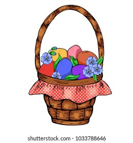Colorful eggs, brocade, green grass in a wicker basket isolated on white. Vector illustration of brown Pannier on the feast of the Passover. Festive balloons are decorated with different dots and line