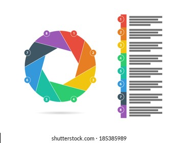 Colorful eight sided puzzle presentation infographic diagram chart vector graphic template with explanatory text field isolated on white background