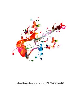 Colorful electric guitar with music notes isolated vector illustration design. Music background. Guitar poster with music notes, music festival poster, live concert events, party flyer