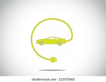 colorful electric hybrid car with charger plug connected concept icon symbol. green colored car with cable charger plug from the car illustration art