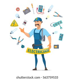 Colorful electricity elements concept with moustached electrician and professional electrical tools in circle shape isolated vector illustration