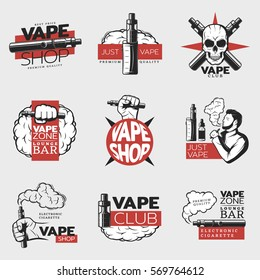Colorful electronic cigarette logos with smoker skull vaping elements and devices in vintage style isolated vector illustration