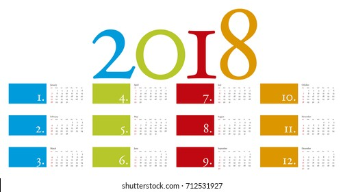 Colorful and elegant Calendar for year 2018 in vector format