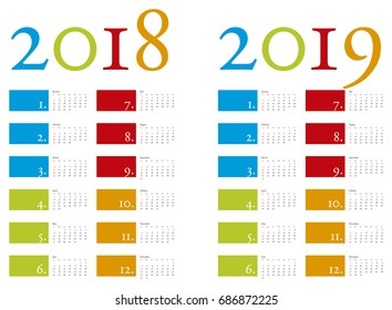 Colorful and elegant Calendar for years 2018 and 2019 in vector format