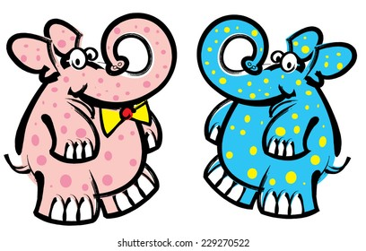 Colorful Elephants in Blue and Pink
