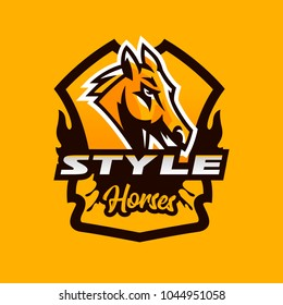 Colorful emblem, badge, logo, horse head. Stallion, animal, pony, sports club, shield, lettering. Vector illustration