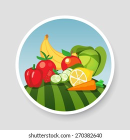 Colorful Emblem of Vegetables and fruits. Vector illustration, images isolated on gray background.