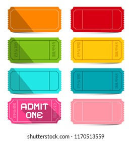 Colorful Empty Vector Tickets Set Isolated on White Background. Business Labels Vector Illustration.