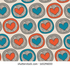 Colorful endless pattern with hearts in circles. Abstract background with many decorative elements. Happy doodle template