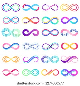 Colorful endless sign. Infinity symbol, limitless mobius strip and infinite loop possibilities. Endless eternal abstract possibility. Vector concept isolated signs illustration set