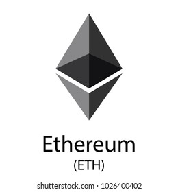 Colorful ethereum cryptocurrency symbol isolated on white background