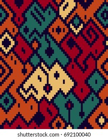 Colorful ethnic abstract geometric pattern kilim rug, vector
