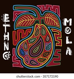Colorful Ethnic Design Element. ETHNO. MOLA Art Form. Mola Style Pear. Ethno Bright Decorative Illustration.