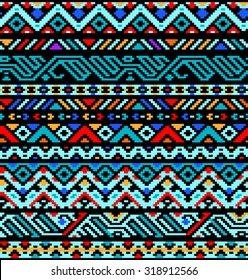 Colorful ethnic geometric aztec seamless pattern, vector, use for design background, fabric print