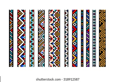Colorful ethnic geometric aztec seamless borders set, vector, use for banners, website borders, frames