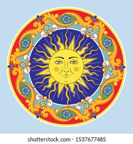 Colorful ethnic round ornamental mandala. Sun with human face. Vector illustration