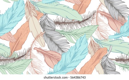 Colorful Ethnic Seamless Pattern with Feathers. Vector Illustration. Hand drawn vector feather pattern for textile and cover design. Boho style fashion pattern. Hippie and tribal sketches background.
