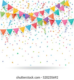Colorful explode confetti with buntings and ribbons on white background. Confetti for birthday, carnival, celebration, anniversary and holiday party background.