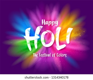 Colorful explosion for Happy Holi. The festival of colors.