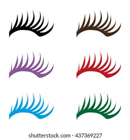 colorful Eyelashes and eyebrows vector