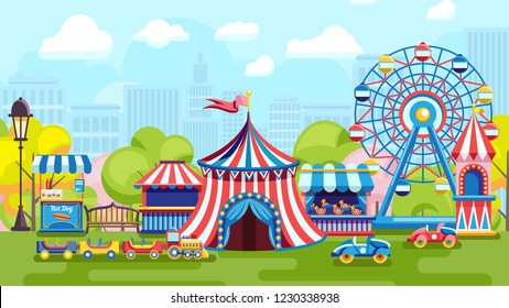 Colorful fair tent and Ferris wheel in amusement park on urban background