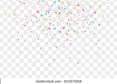 Colorful falling confetti pieces and strips isolated on transperent background. Vector illustration