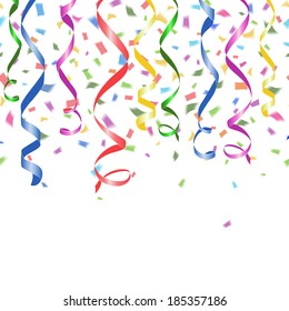 colorful falling paper confetti and twirled party streamers on a white background with copyspace in a