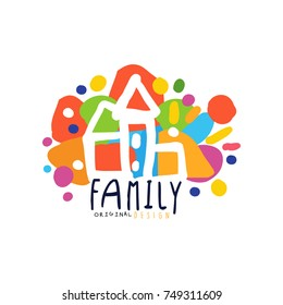 Colorful family logo design with city houses