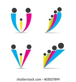 colorful family symbol design, four and three family member group design vector