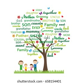 Colorful family tree and happy family
