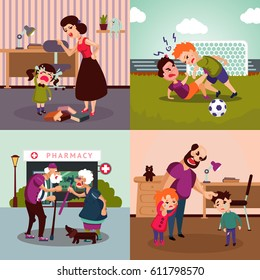 Colorful family violence concept with different conflicts aggressions quarrels and disagreements vector illustration