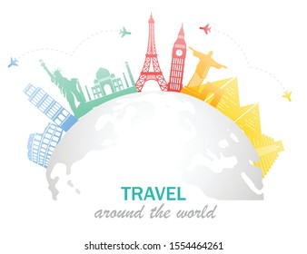 Colorful famous landmarks located around the globe. Isolated on white background. Vector illustration in flat design. Major tourist destinations the world. Rest and travel concept.