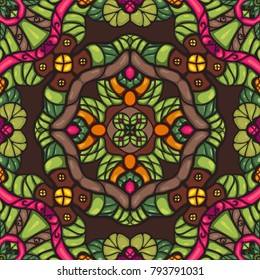 Colorful  fantasy cartoon style seamless vector ornamental pattern with abstract flowers and leafs