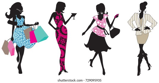 Colorful fashion girls silhouettes, isolated vector illustrations