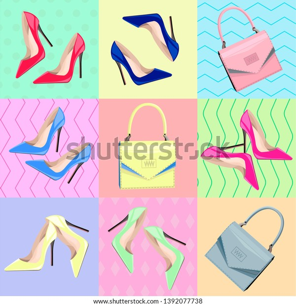 81d89d09991 Colorful Fashion Hight Heel Shoes Bags Stock Vector (Royalty Free ...