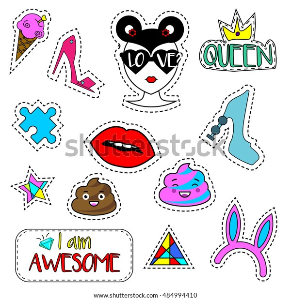 picture about Printable Patches identified as Colourful Modern day Pins Patches Labels Stickers Inventory