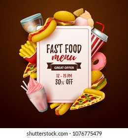 Colorful fast food  background. Pizza, hot dog, burger,fries and sweets. Vector Illustration