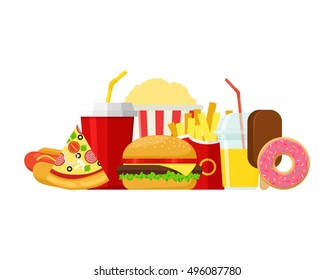Colorful Fast food vector isolated on white background. Fast food hamburger dinner and restaurant, tasty set fast food many meal and unhealthy fast food classic nutrition in flat style.