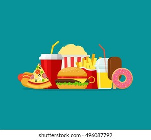 Colorful Fast food vector isolated on background. Fast food hamburger dinner and restaurant, tasty set fast food many meal and unhealthy fast food classic nutrition in flat style.