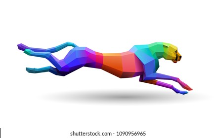 Colorful, fast running low poly cheetah, concept of speed, logo element, eps10 vector