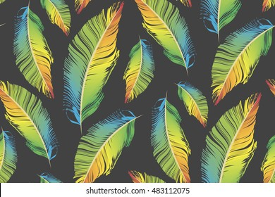 colorful feather seamless pattern