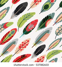 Colorful feathers pattern over white background. Vector illustration.