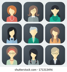 Colorful Female Faces App Icons Set in Trendy Flat Style