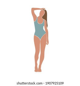 Colorful female figure in swimsuit. Minimal trendy vector illustration with silhouette of faceless woman. Young woman standing with hand up and sunbathing. Isolated on white background.